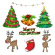 Stock Vector: Set of christmas decors