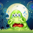 Stock Vector: Three-eyed monster crying at carnival