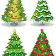 Stock Vector: Four decorated christmas trees