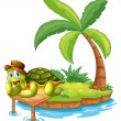 A turtle stranded in an island — Stock Vector