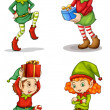 Stock Vector: Four smiling elves