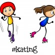 Stock Vector: Two girls skating