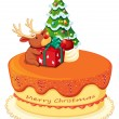 Stock Vector: Cake with reindeer and christmas tree