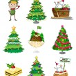 Stock Vector: Santelf with other christmas decorations