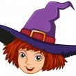 Stock Vector: Smiling witch with purple hat