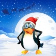 Stock Vector: Penguin wearing Santa's hat