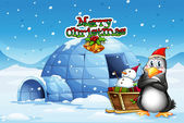 A snowman and a penguin in front of the igloo — Stock Vector