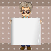 An angry man holding an empty signboard — Stock Vector