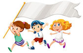 Three kids running with an empty banner — Stockvector