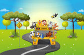 A zoo bus travelling loaded with animals — Stockvector