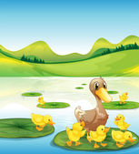 A duck and her ducklings at the pond — Stock Vector