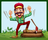 A happy lumberjack stepping on a log with axe — Stock Vector