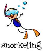 A stickman snorkeling — Stock Vector