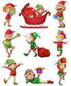 Playful Santa elves — Stock Vector