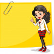 A yellow empty signage with a businesswoman in front — Stock Vector #38190705