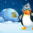 A penguin standing near the igloo — Stockvector