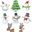 Snowmen, reindeers and a christmas tree — Stock Vector