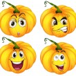 Stock Vector: Four pumpkins