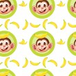 A seamless design with monkeys and bananas — Stock Vector