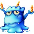 A blue monster celebrating a birthday — Stockvector