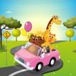 A pink car travelling with animals — Stock Vector