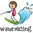 A stickman waterskiing — Stock Vector