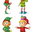 Four playful Santa elves — Stock Vector