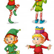 Stock Vector: Four playful Santa elves
