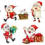 Santa Claus and the snowmen — Stock Vector