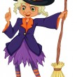 Stock Vector: Old witch holding broomstick