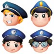 Stock Vector: Head of four cops