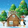 A penguin celebrating christmas — Vector de stock