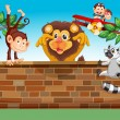 Animals playing at the gated backyard — Stock Vector