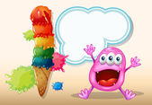 A cheerful beanie monster near the icecream — 图库矢量图片
