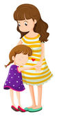 A daughter hugging her mother — Stock Vector