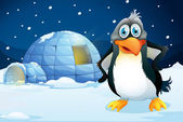 A penguin standing near the igloo — Stock Vector