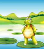 A turtle at the pond standing above a waterlily — Stock Vector