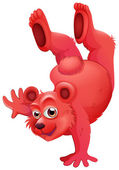 A red bear doing a handstand — Stock Vector