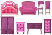 Furnitures in pink color — Stock Vector