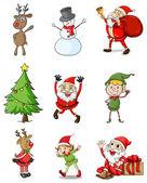 Nine christmas designs — Stock Vector