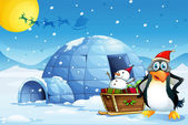 A penguin and the sleigh with a snowman near the igloo — Stock Vector