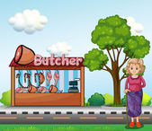An old woman near the butcher house — Stock Vector