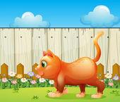 A fat cat at the backyard — Stock Vector