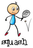 A stickman playing tennis — Stockvector