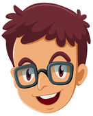 A head of a boy with an eyeglass — Stock Vector