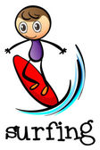 A stickman surfing — Stock Vector