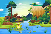 A frog playing at the river near the cliff — Stock Vector