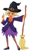 An old witch holding a broomstick — Stock Vector