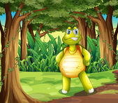 A forest with a turtle standing in the middle of the trees — Stock Vector