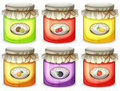 Six different jams — Stock Vector